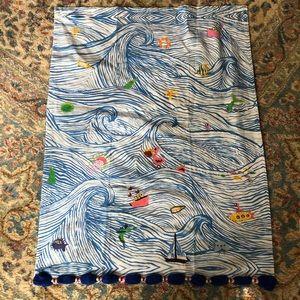 Anthropologie Ocean Waves Dish Towel